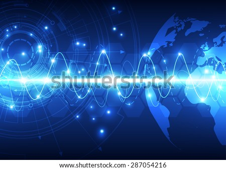 vector digital global technology, abstract background - stock vector