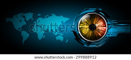 vector digital global technology concept, blue abstract background.  Technology background for computer graphic website internet digital. World map. eye - stock vector
