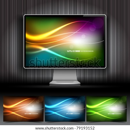 Vector digital LCD monitor and four abstract backgrounds