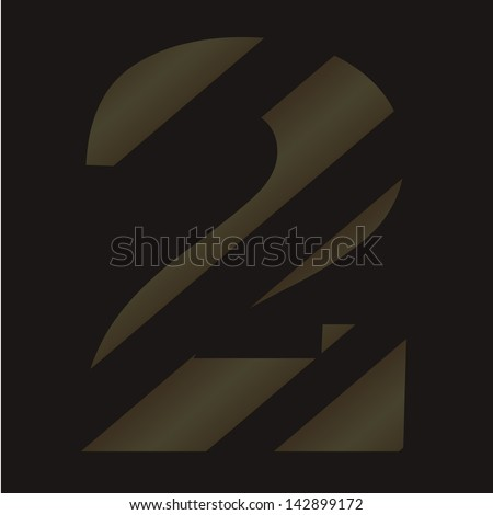 vector digital number two. striped figures on a black background. eps10 - stock vector
