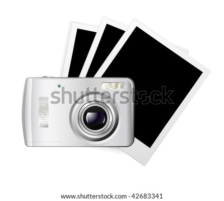 vector digital photo camera with blank cards