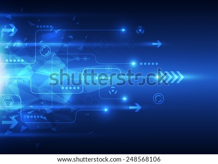 vector digital speed technology, abstract background - stock vector