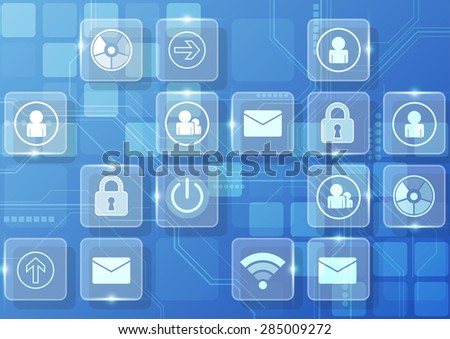 vector digital technology interface, abstract background - stock vector