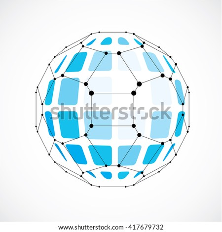 Vector dimensional wireframe low poly object, spherical blue facet shape with black grid. Technology 3d mesh element made using pentagons for use as design form in engineering. - stock vector