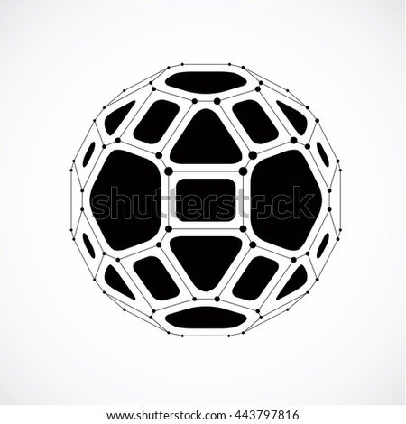 Vector dimensional wireframe low poly object, spherical gray facet shape with black grid. Technology 3d mesh element made using pentagons for use as design form in engineering. - stock vector