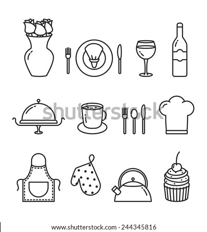 Vector Dining outline icon set - stock vector