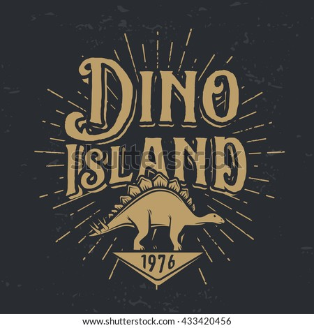 Vector dino island logo concept. Stegosaurus national park insignia design. Jurassic period illustration. Dinosaur Vintage T-shirt badge on dark background.