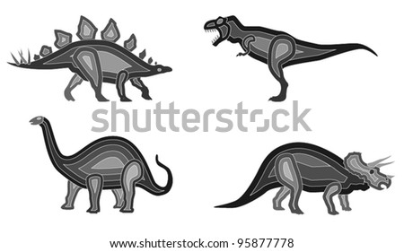 Vector Dinosaur Set. A set of 4 dinosaurs (includes Stegosaurus, Brontosaurus,Triceratops and T-Rex). File saved as EPS version 10. - stock vector