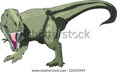 Vector Dinosaur T rex on the white background - stock vector