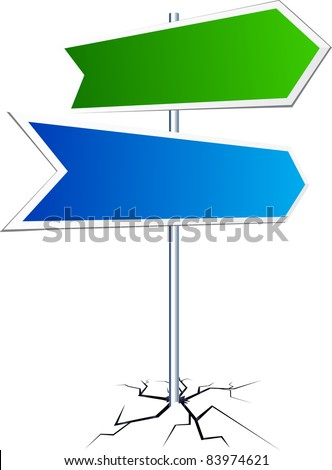 Vector direction sign with two frames. - stock vector
