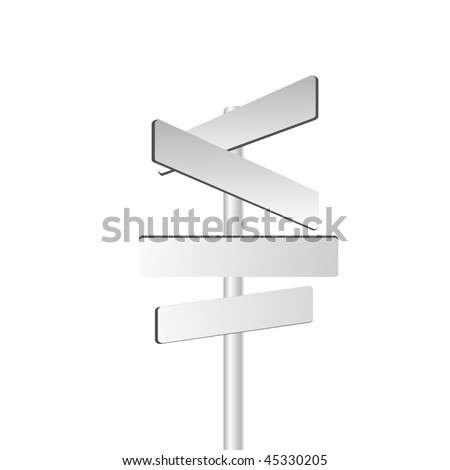 Vector directional sign isolated on white