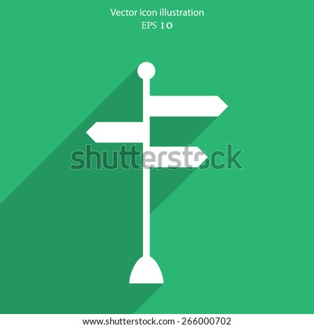Vector directional signs flat icon illustration.
