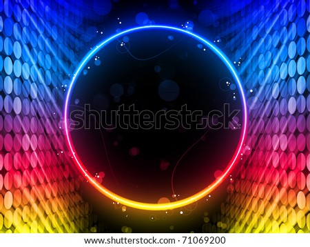 Vector - Disco Abstract Circle Box on Black Background - stock vector