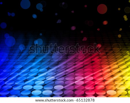 Vector - Disco Abstract Colorful Waves on Black Background - stock vector