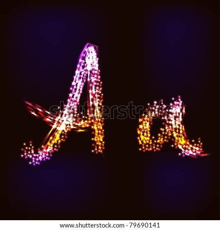 Vector Disco alphabet. Letter A