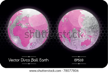Vector disco ball globe, glossy earth, Europe, Africa and  Asia - stock vector