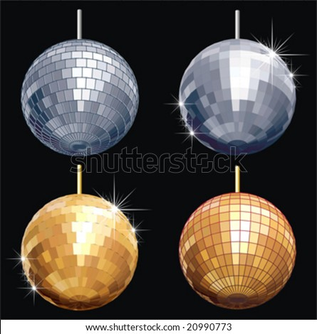 Vector disco-ball set isolated separate by layers and groups: mirrors, frames, stars and background. No gradients, no transparency.