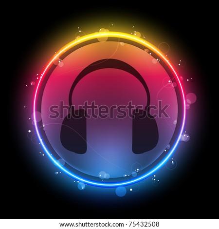 Vector - Disco Headphones with Neon Rainbow Circle - stock vector