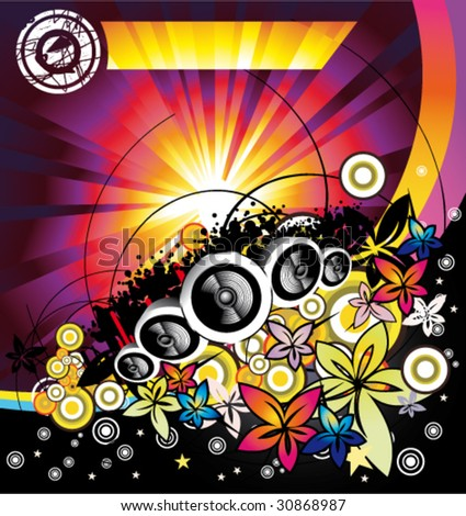 VECTOR Disco Music Summertime event background - stock vector