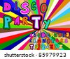 Vector disco party alphabet on a colored background - stock vector