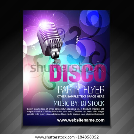 vector disco party flyer brochure and poster template - stock vector