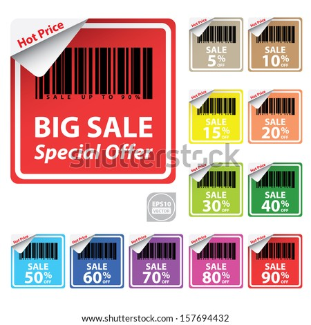 Vector: Discount colorful labels sale 5 - 90 percent  - stock vector