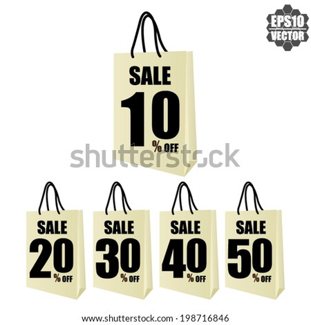 Vector: Discount Price With Sale 50 - 90 Percent Text On Shopping Bag. - stock vector