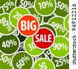 Vector discount sale background illustration made from circle badges - stock