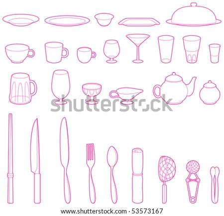 Vector dish set - stock vector