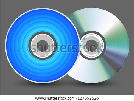 Vector disk on gray background. Eps10
