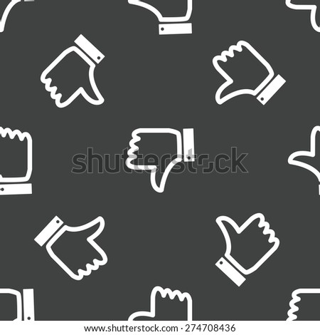 Vector Dislike symbol repeated on grey background - stock vector