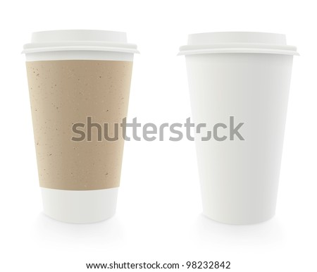 Vector dispossable coffee cup illustration (with cardboard cover) - stock vector
