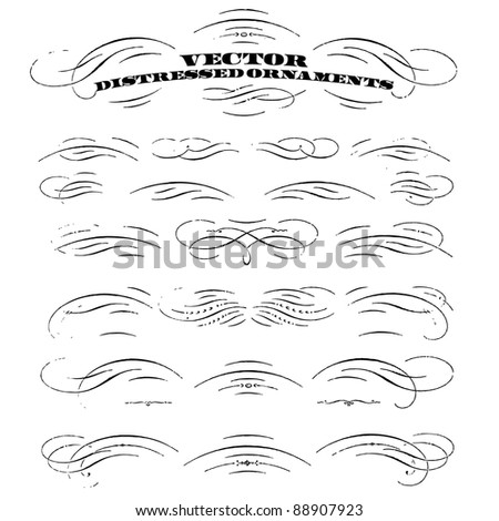 Vector Distressed Ornament Set. Easy to edit. Perfect for vintage or distressed designs. - stock vector