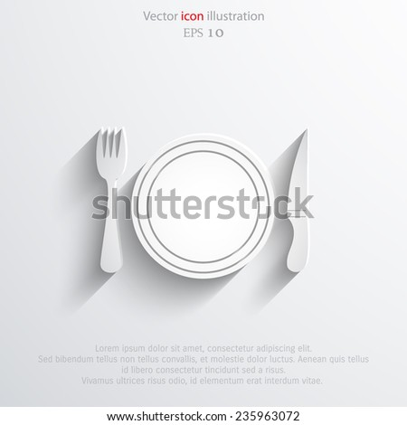 Vector disware and cutlery web flat icon. Eps 10.