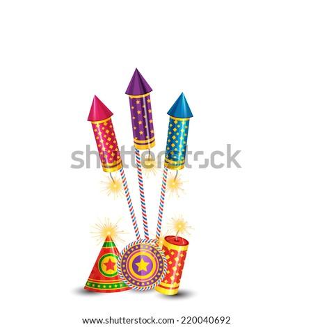 Vector diwali crackers background - stock vector