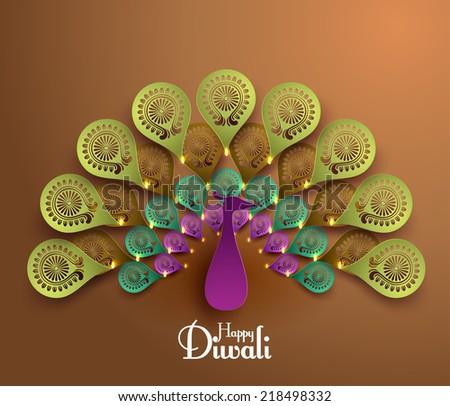 Vector Diwali Peacock - stock vector