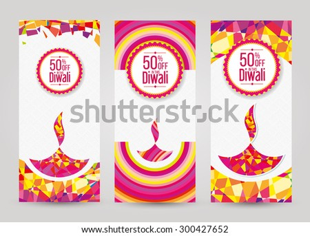 Vector Diwali Vertical Banner Set Illustration - stock vector