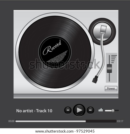 Vector DJ mixer with record disk and audio music player - stock vector