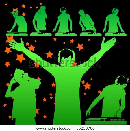 vector DJ silhouettes - stock vector