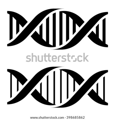vector DNA simple black symbols - stock vector
