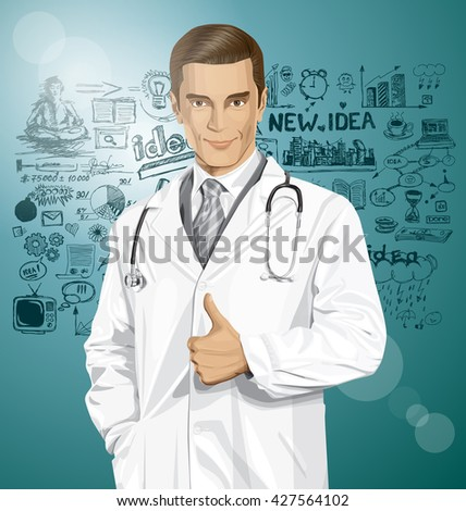 Vector doctor man with stethoscope shows well done, have got an idea - stock vector