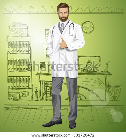 Vector doctor man with stethoscope shows well done in office - stock vector