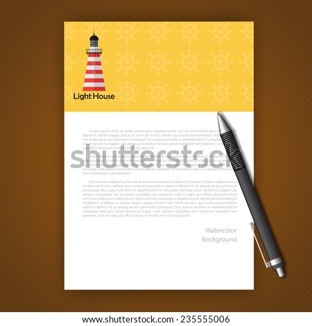 Vector document template with lighthouse. Eps10