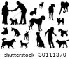 Vector dog collection on a white background - stock photo