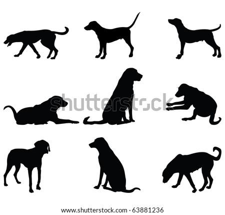 Vector dog silhouette - stock vector