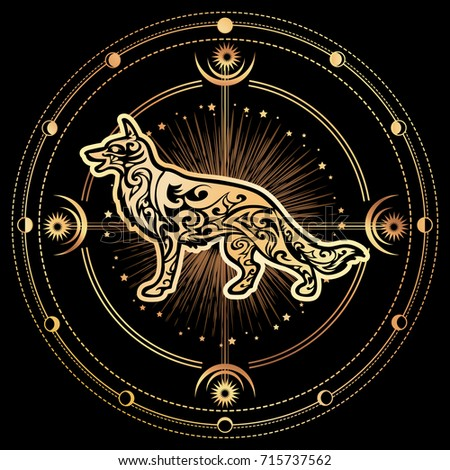 Vector Dog zodiac esoteric symbol 2018 year of dog. Ethnic tribal astrology print For t-shirt, bag, postcard,and logo. Tattoo design