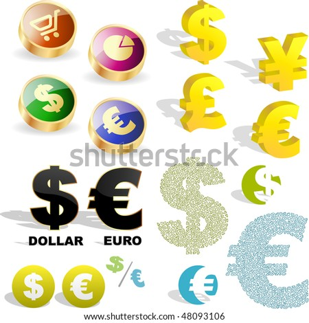 Vector dollar and euro signs. Vector great collection. - stock vector