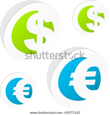 Vector dollar and euro stickers. - stock vector