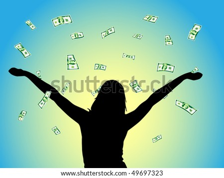 Vector - Dollars falling from the sky - stock vector