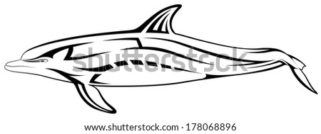 Vector dolphin, tribal tattoo - stock vector